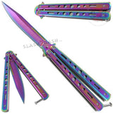 Hi-Tech Butterfly Knife Stainless Steel Cutout Balisong - Titanium Rainbow Plain