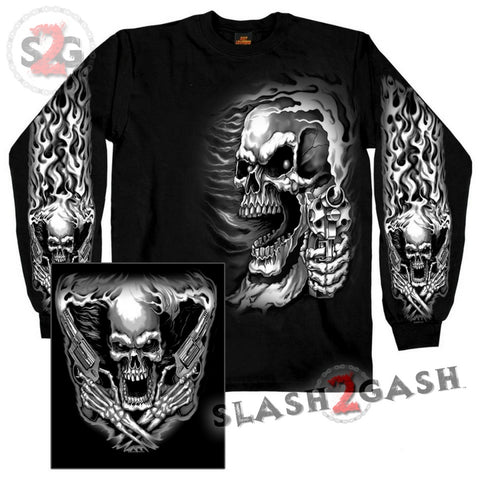 Hot Leathers Assassin Double Sided Long Sleeve TShirt Skull & Guns