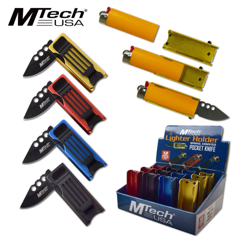 Lighter Knife Spring Assisted Holder w/ Pocket Clip - 4 colors