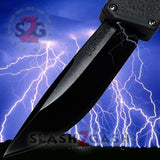Taiwan Lightning OTF Dual Action Black Automatic Knife - Tactical Plain Edge