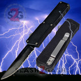 Taiwan Lightning OTF Dual Action Black Automatic Knife - Tactical Serrated Edge
