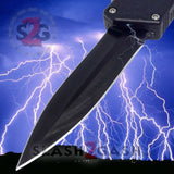 Lightning OTF Dual Action Black Automatic Knife - Tactical Plain Edge