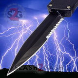 Lightning OTF Dual Action Black Automatic Knife - Tactical Combo Edge