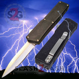 Lightning OTF Dual Action Black Automatic Knife - Satin Double Edge