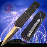 Taiwan Lightning OTF Dual Action Black Automatic Knife - Satin Combo Edge