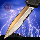 Lightning OTF Dual Action Black Automatic Knife - Satin Combo Edge