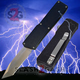Lightning OTF Knife Black D/A Automatic Switchblade - Tanto Plain Edge