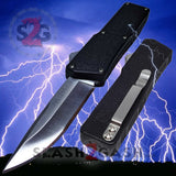 Lightning OTF Dual Action Black Automatic Knife - Satin Plain Edge