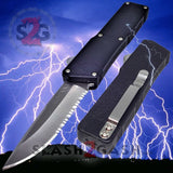 Taiwan Lightning OTF Dual Action Black Automatic Knife - Satin Serrated Edge