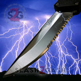 Taiwan Lightning OTF Dual Action Black Automatic Knife - Satin Plain Edge