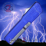 Lightning OTF Dual Action Blue Automatic Knife - Tactical Plain Edge