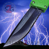 Taiwan Lightning OTF Dual Action Green Automatic Knife - Tactical Serrated Edge