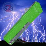 Lightning OTF Dual Action Green Automatic Knife - Tactical Plain Edge
