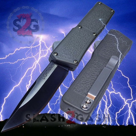 Lightning OTF Dual Action Grey Automatic Knife - Tactical Plain Edge
