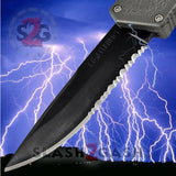 Taiwan Lightning OTF Dual Action Grey Automatic Knife - Tactical Serrated Edge