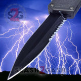Lightning OTF Dual Action Grey Automatic Knife - Tactical Combo Edge