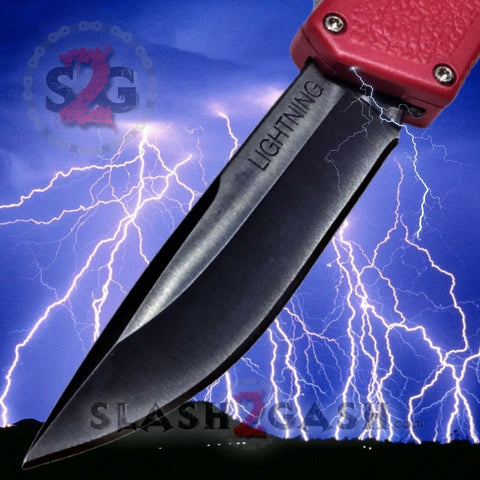 Lightning OTF Dual Action Red Automatic Knife - Tactical Plain Edge