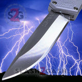 Taiwan Lightning OTF Dual Action Silver Automatic Knife - Satin Plain Edge