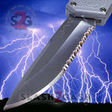 Taiwan Lightning OTF Dual Action Silver Automatic Knife - Satin Serrated Edge