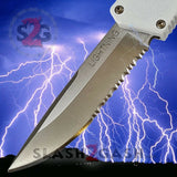 Taiwan Lightning OTF Dual Action White Automatic Knife - Satin Serrated Edge