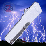 Lightning OTF Dual Action White Automatic Knife - Tactical Serrated Edge