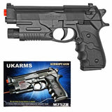 UKARMS M9 Baretta Black Plastic Airsoft Pistol Spring Powered BB Handgun w/ Laser M757R