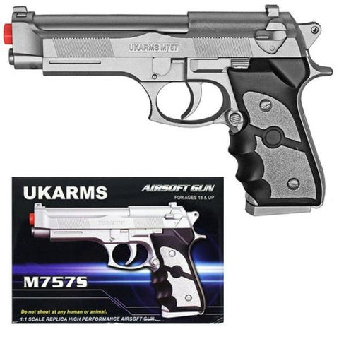UKARMS M9 Baretta Silver Plastic Airsoft Pistol Spring Powered BB Handgun M757S