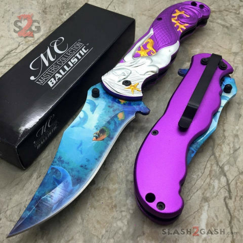 Fantasy Purple Mermaid Ocean View Spring Assisted Folding Knife