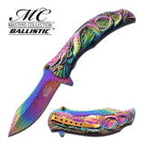Dragon Titanium Rainbow Spring Assisted Knife 3D Engraved Scales Master