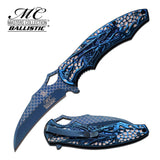 Dragon Blue Titanium Spring Assisted Knife NEW Claw Acid Etched Scales