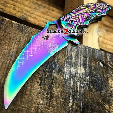 Dragon Titanium Rainbow Spring Assisted Knife Fade Claw Scales Master