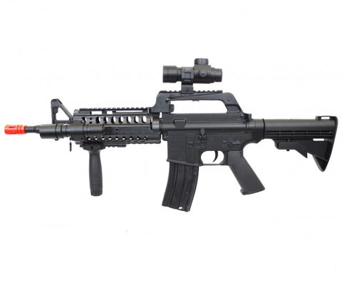 WELL MR733 M4 RIS Spring Airsoft Gun with Scope, Flashlight and Grip