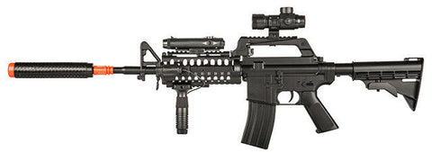 WELL MR799 M4 RIS Spring Airsoft Gun with Scope, Light, Grip, + Suppressor