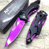 Black/Purple Spring Assisted Tactical Knife w/ Bottle Opener + Screwdriver
