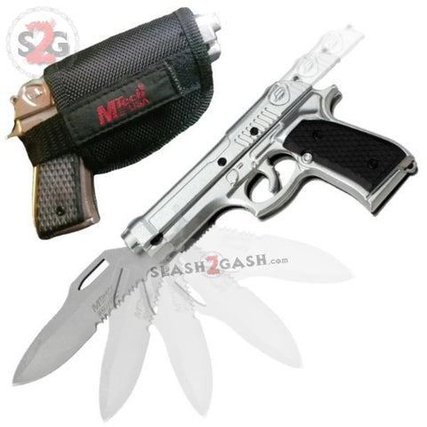 MT-A818SB Mtech Gun-Shaped Spring Assisted Knife Silver Pistol w/ Holster Black Sheath