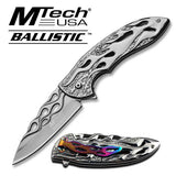 MTECH BALLISTIC GREY Skeletonized Flame Blade Spring Assisted Open Knife