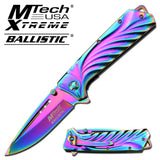 Rainbow Titanium Coated Spring Assisted Tactical Knife MT-A830RB