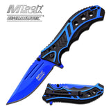 MTech Spring Assisted Blue Blade Tactical Folding Pocket Knife Switch 8""