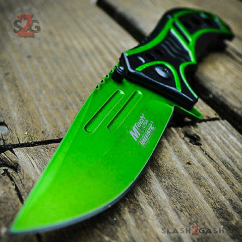 MTech Spring Assisted Green Blade Tactical Folding Pocket Knife Switch 8""