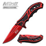 M-Tech Spring Assisted Red Blade Tactical Folding Pocket Knife Switch 8""