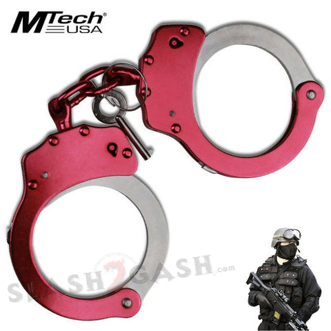 MTech USA Double Locking Pink and Chrome Hand Cuffs Carbon Steel