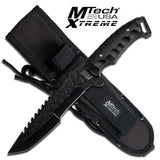 MTech Extreme Full Tang Black Fixed Blade Tactical Fighter Knife w/Sheath