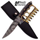 "MTech USA XTREME Fixed Blade Bullet Knuckle Trench Knife 11.8"" - Gold"
