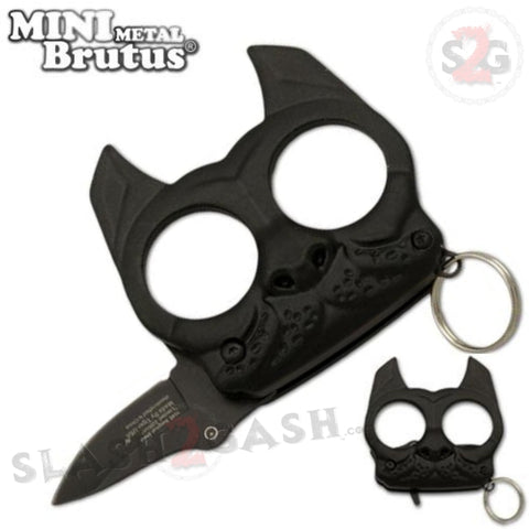 Mini Brutus Self Defense Keychain Metal Knuckles w/ Knife - Black Bulldog Small Compact Jabber
