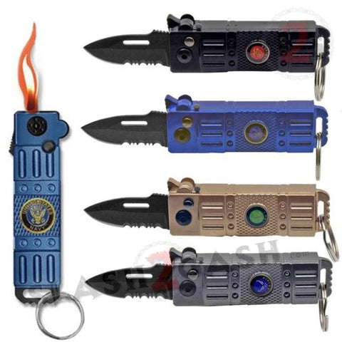 Lighter Knife Mini Switchblade California Legal Automatic Knife - Armed Forces Military Key Chain