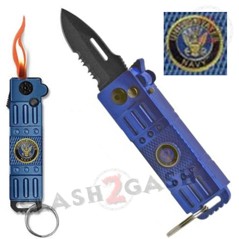 Mini Automatic Knife w/ Lighter California Legal Blue Switchblade - NAVY Key Chain