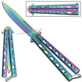 Monarch Butterfly Knife Titanium Rainbow Folding Balisong