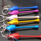 Mushroom Keychain Pipe Smoking Bowl Convertible Hidden tobacco Key Chain - Pink