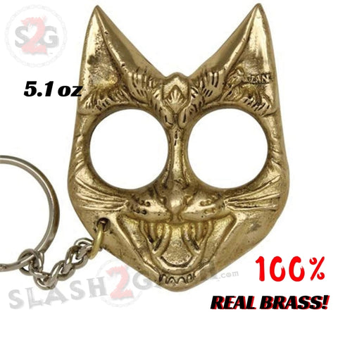 My Kitty Cat Self Defense Key Chain Knuckles Real Brass Two-Finger Knucks - Brass Evil Cat