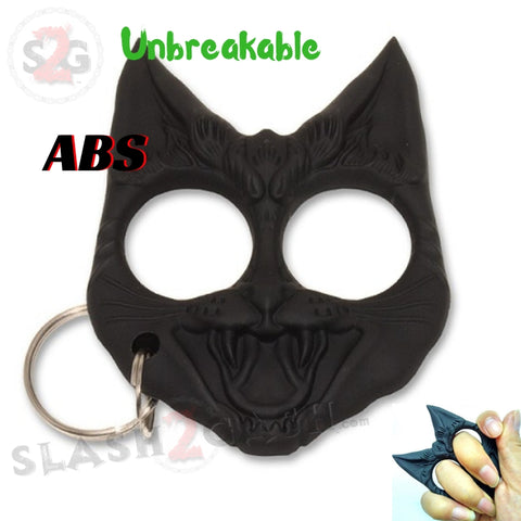 My Kitty Cat Self Defense Key Chain Knuckles Unbreakable Plastic Two-Finger Knucks - Black Evil Cat